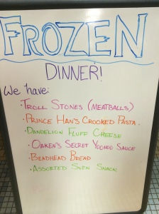 Disturbing dinner menu.